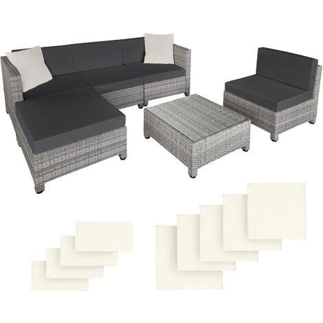 Salon bas de jardin AMY 5 places avec 2 sets de housses - mobilier de jardin, meuble de jardin, ensemble table et chaises de jardin