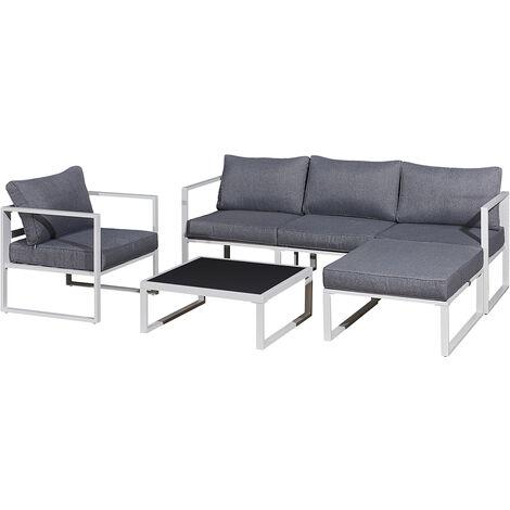 Salon bas de jardin en aluminium blanc 4 places LIMA