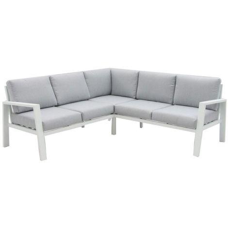 Salon bas de jardin en aluminium blanc et coussins gris TARRAGONE - L  194.70 x l 194.70 x H 73.60