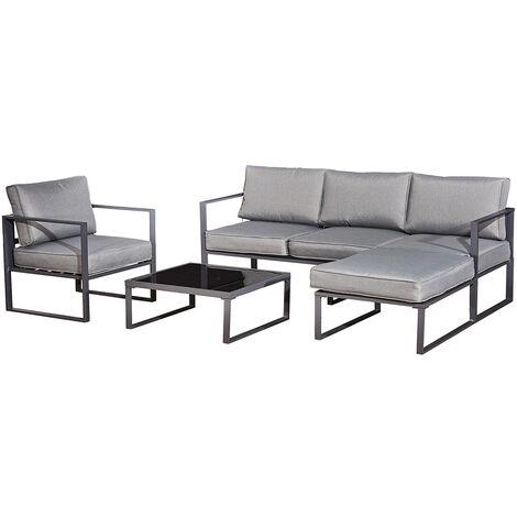Salon bas de jardin en aluminium noir 4 places LIMA