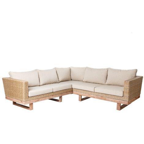 Salon bas de jardin en bois et rotin avec coussins beiges MEDA - L ...
