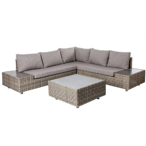 Salon bas de jardin en rotin gris et coussins gris TAVIRA - L 230 ...