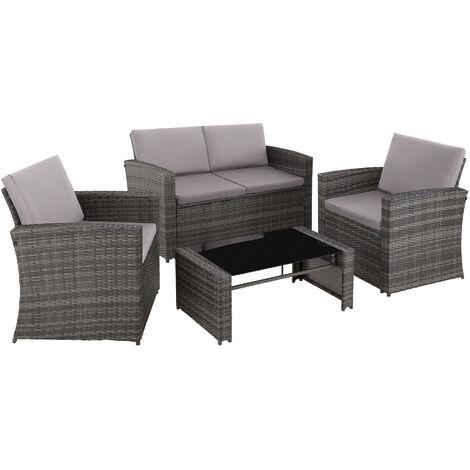 Salon bas de jardin LUCQUES 4 places, version 2 - mobilier de jardin, meuble de jardin, ensemble table et chaises de jardin