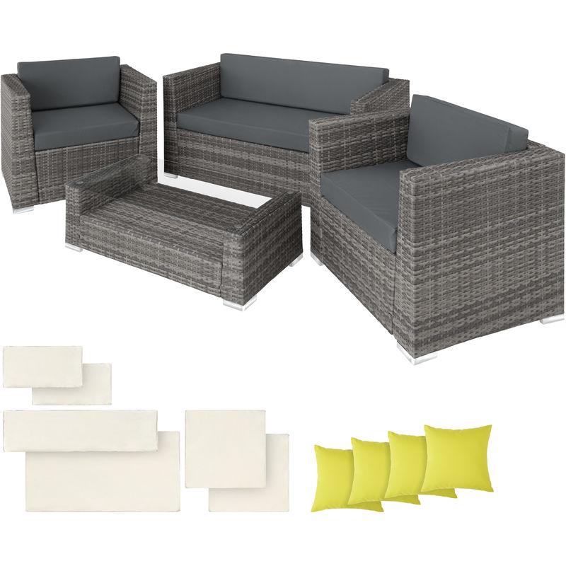 Salon De Jardin Munich 2 Fauteuils 1 Canape 1 Table En Resine Tressee Structure Aluminium Gris 403085