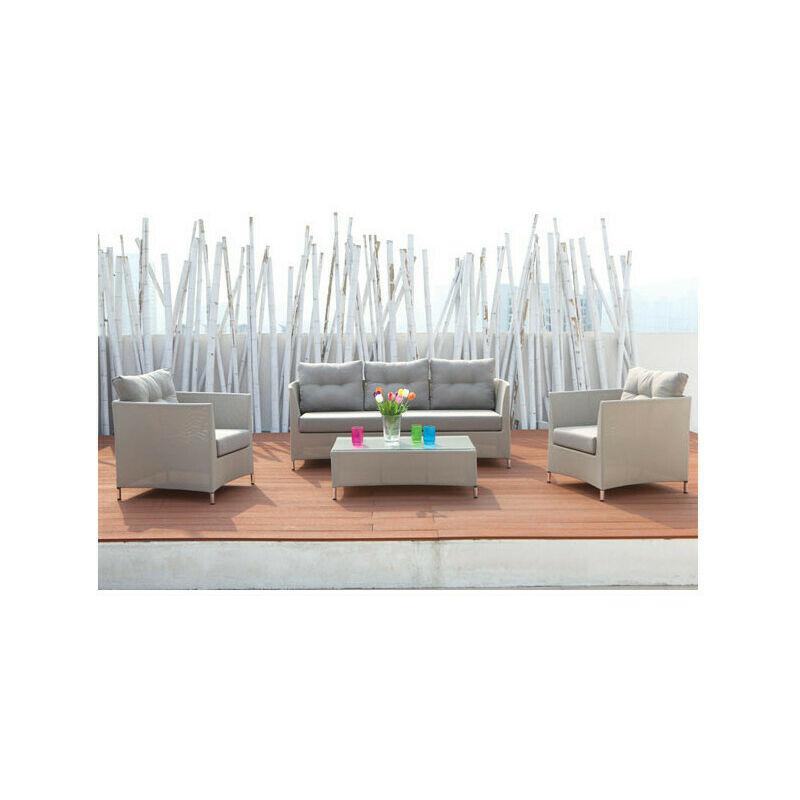 Salon bas de jardin naples en textilène gris perle
