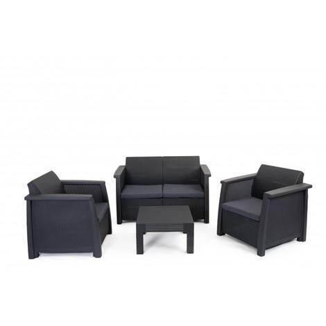 Salon de jardin en résine 3 fauteuils et table basse gris anthracite ...