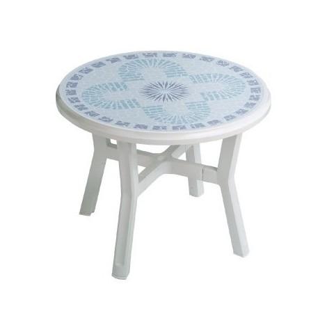 Salon blanc résine décore table ronde table