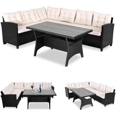 Salon/Canapé d'angle en polyrotin avec table en bois composite (WPC) - 340x66cm