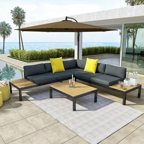 Salon d\'angle de jardin aluminium Gris/noir + Parasol ...