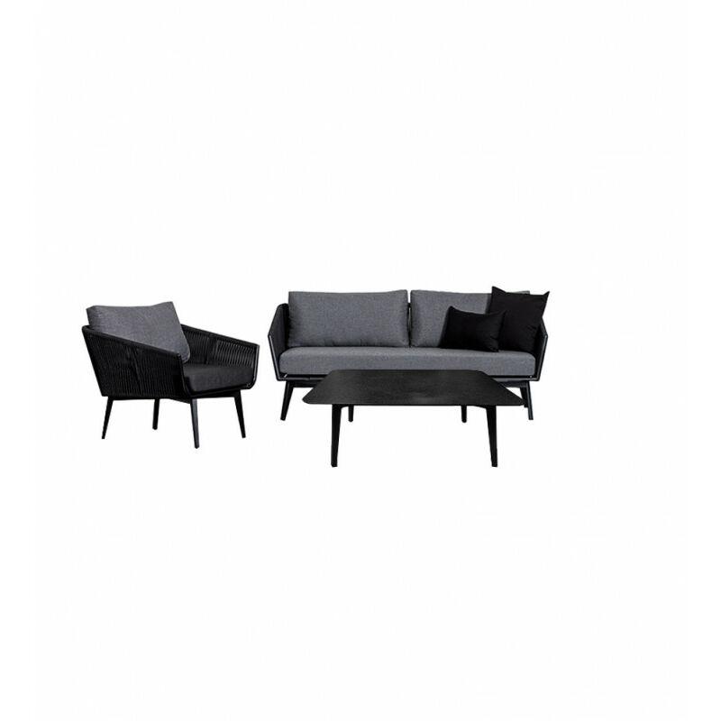 Salon de jardin 1 canapé 3 places 1 fauteuil 1 table basse - PARADISE - Gris anthracite