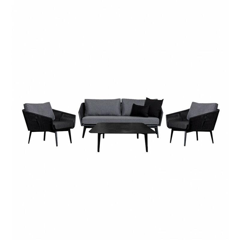 Salon de jardin 1 canapé 3 places 2 fauteuils 1 table basse - PARADISE - Gris anthracite
