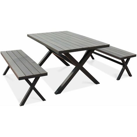 Salon de jardin 1 table et 2 bancs - Gris - 104143