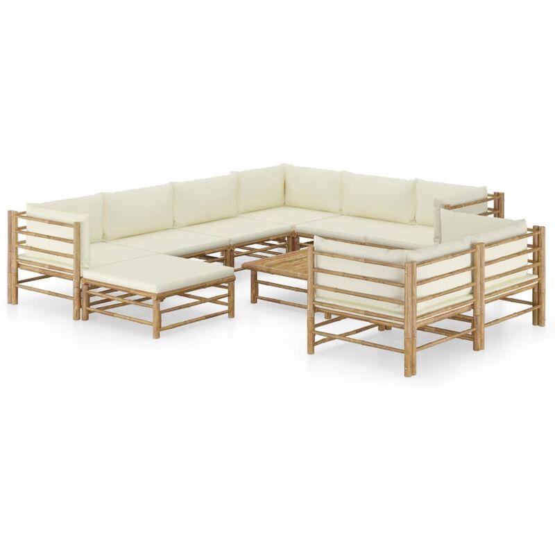 Salon de jardin 10 pcs avec coussins blanc crème Bambou
