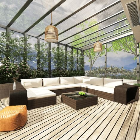 Salon de jardin 10 pcs avec coussins Résine tressée Marron