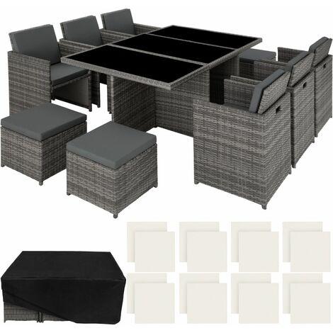 """main image of """"Salon de jardin 10 places avec 2 sets de housses + housse de protection gris - Gris"""""""