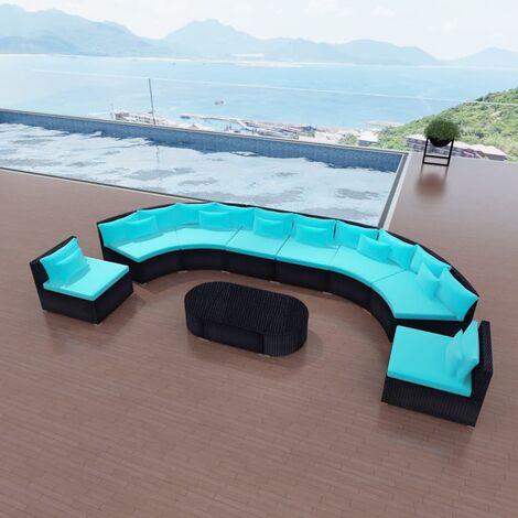 Salon de jardin 11 pcs avec coussins Résine tressée Bleu