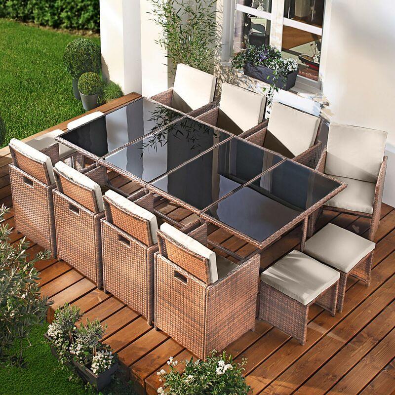 Salon de jardin 13 places marron-cappucino en rotin fin, peu d'espace élégant confortable - résistant - housse – salon repas CAMOUFLAGE DELUXE de