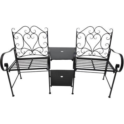 Salon de jardin 2 pers. 3 pièces ensemble bistro style fer forgé 2 fauteuils + table basse insert parasol métal époxy anticorrosion noir