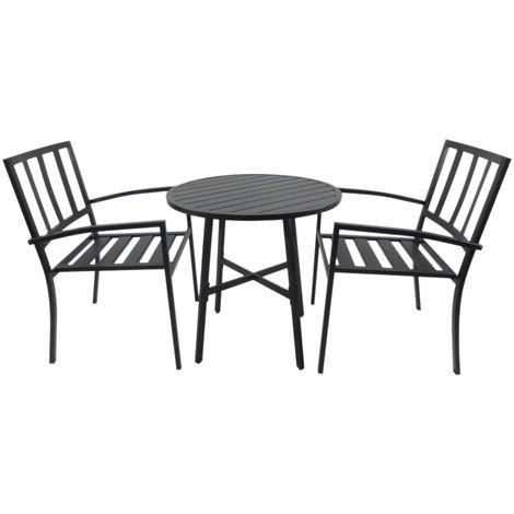 Salon de jardin 2 pers. 3 pièces ensemble bistrot style contemporain 2  fauteuils + table ronde métal époxy anticorrosion noir
