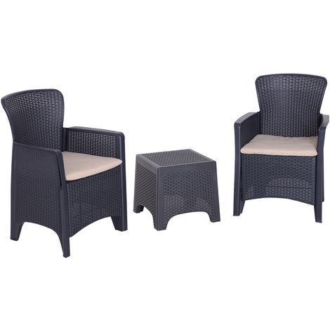3 pi/èces Ensemble bistrot Style Contemporain Coussins Grand Confort Inclus Polyester Beige r/ésine tress/ée Noir Outsunny Salon de Jardin 2 pers