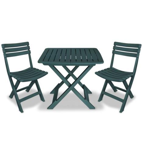 Salon de jardin 2 pers. en plastique vert - MJ43582