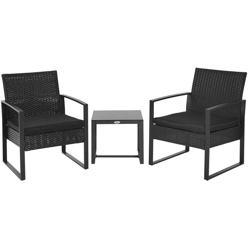 Salon De Jardin 2 Places 3 Pieces 2 Chaises Avec Coussins Table