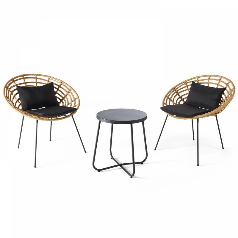 Salon de jardin 2 places imitation rotin, 2 fauteuils, 1 table basse Antalya - Naturel - Marron
