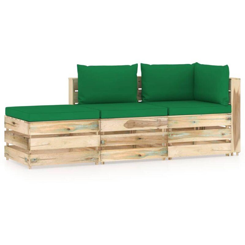 Salon de jardin 3 pcs avec coussins Bois imprégné de vert