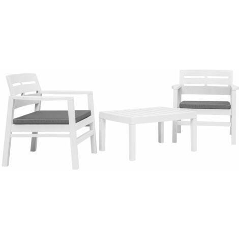 Salon de jardin 3 pcs Plastique Blanc