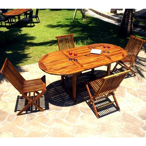 Salon de jardin 4-8 places en teck huilé - 4x chaises peignes pliantes