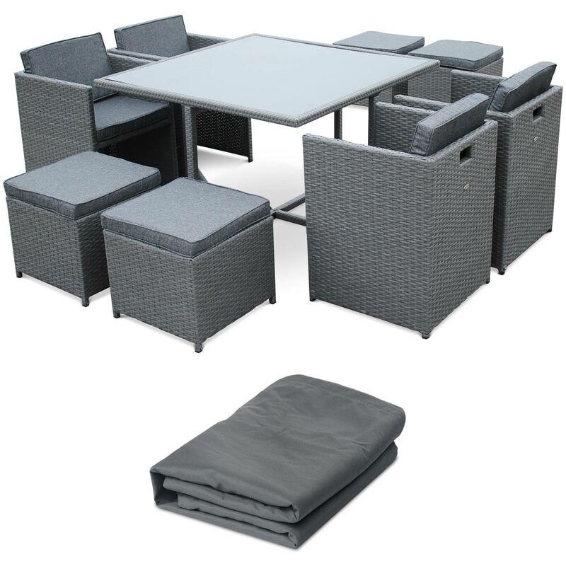 Salon de jardin 4-8 places – Vasto avec housse de protection – Coloris  gris, Coussins gris chiné, table encastrable