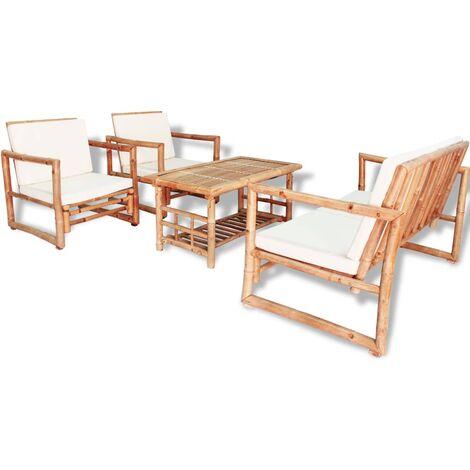 Salon de jardin 4 pcs avec coussins Bambou