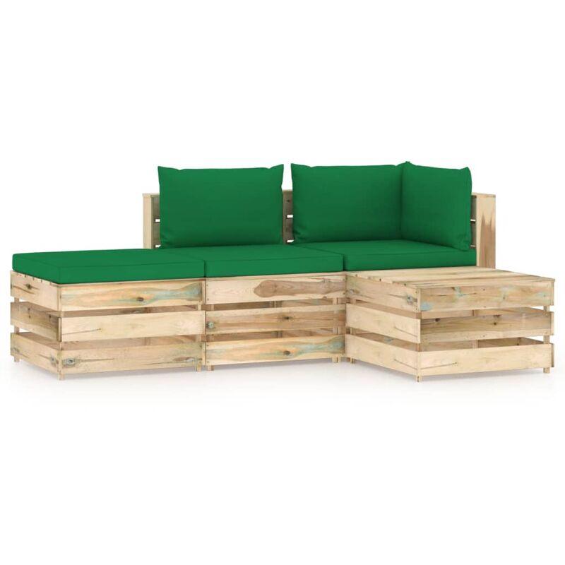 Salon de jardin 4 pcs avec coussins Bois imprégné de vert