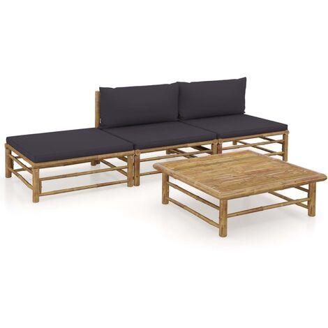 Salon de jardin 4 pcs avec coussins gris foncé Bambou