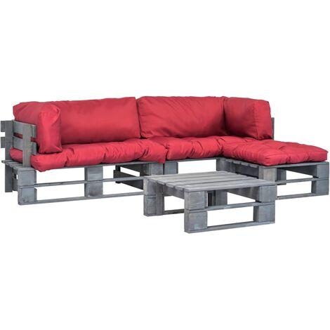 Salon de jardin 4 pcs palettes avec coussins rouges Bois ...