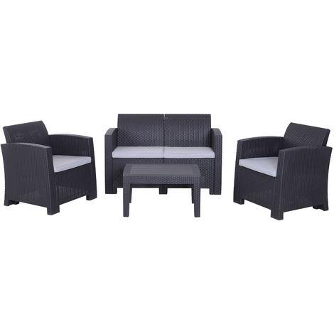 salon de jardin 4 pers 4 pi ces style contemporain. Black Bedroom Furniture Sets. Home Design Ideas