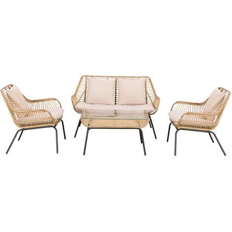 Salon de jardin 4 pers. 4 pièces style exotique métal époxy résine imitation bambou coussins grand confort inclus polyester beige