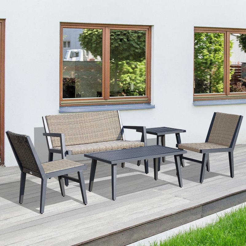 Salon de jardin 4 pers. 5 pièces design contemporain cosy résine tressée  imitation rotin beige alu