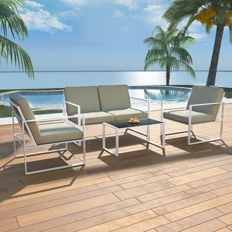 Salon de jardin 4 pers. en acier blanc/noir et coussins gris - MJ42863