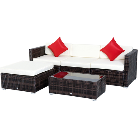 Salon de jardin 4 pers. grand confort modulable + table basse + ...