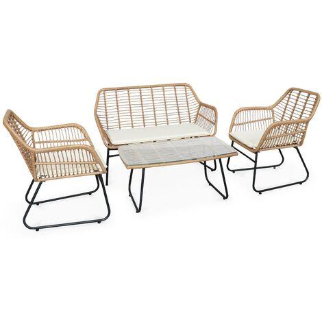 Salon de jardin 4 personnes – résine effet bambou et structure en métal noir – NATUNA - style colonial. bi-matière