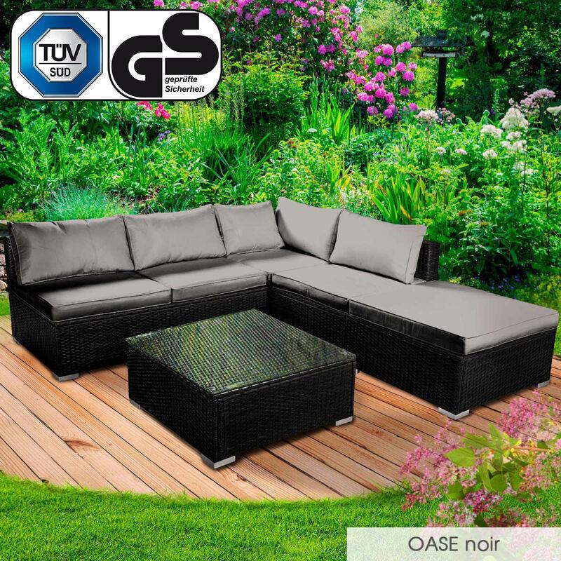 Salon de jardin 4 personnes, rotin tressé alu, OASE noir très fin et élégant, confortable, résistant, lavable - salon bas de BRAST