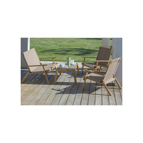 Salon de jardin 4 pièces en structure acacia huilé ou cérusé avec 1 table  basse, 2 fauteuils et 1 banquette
