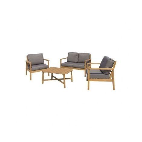 Salon de jardin 4 places - 1 table avec 2 fauteuils et 1 ...