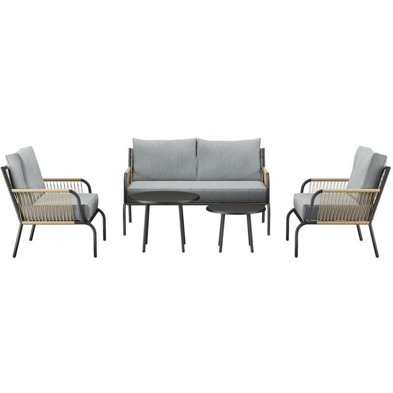Salon de jardin 4 places avec 2 tables basses structure en aluminium et corde en résine - Collection Tonia - ELLE DÉCORATION - Gris