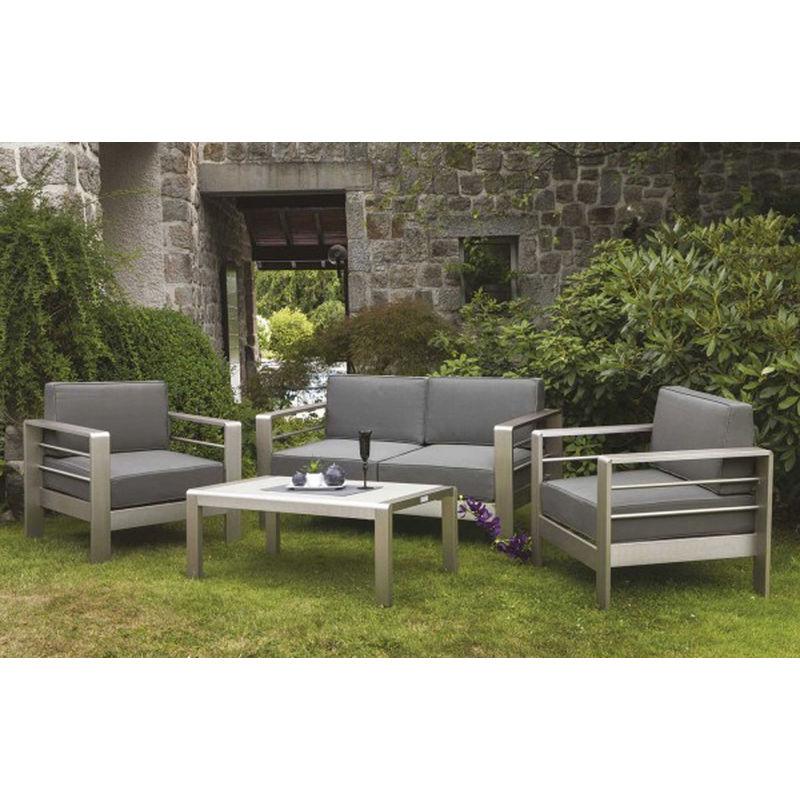 Salon de jardin 4 places en aluminium brosse gris et taupe -PEGANE-