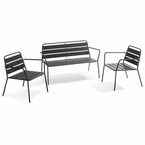 Salon de jardin 4 places en métal, 2 fauteuils, 1 banc Palavas - Gris - Gris