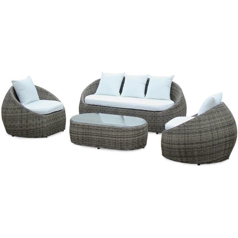 Salon de jardin 4 places en résine tressée arrondie - Ritardo - nuances de  gris foncé, coussins écrus