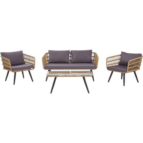 Salon de jardin 4 places en rotin beige avec coussins gris graphite FOBELLO