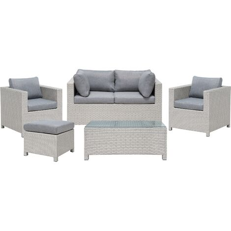 Salon de jardin 4 places en rotin gris clair avec coussins gris foncé MILANO